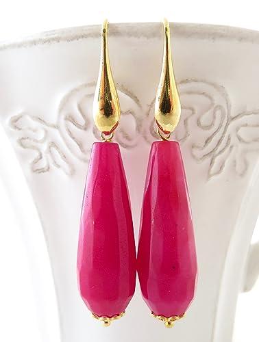 538cba9e5b50 Pendientes de jade rosa fucsia