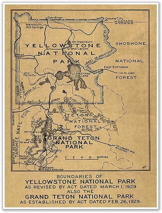 BIG Map of Yellowstone National Park /& the Grand Teton National Park circa 1929