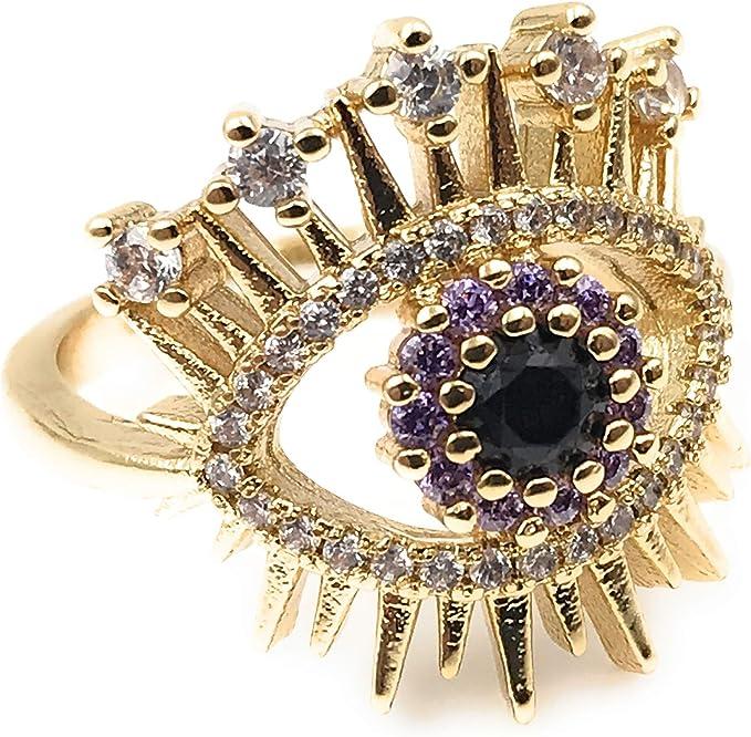 Luck Ring Protection Ring 18K Gold Filled Ring Evil Eye Rings Toe Ring half hand fingers Ring Evil Eye Jewelry.