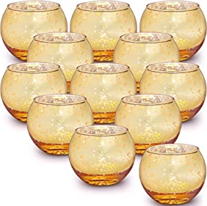 LAMORGIFT Gold Votive Candle Holders Set of 12 - Mercury Glass Votives Candle Holder - Tealight Candle Holder for Home Decor and Weddings/Parties Table Centerpieces