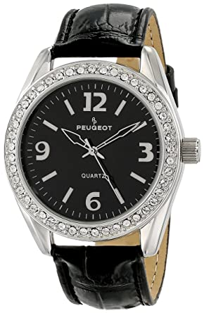 20aefde12684f Amazon.com  Peugeot Women s 3006BK Silver-Tone Swarovski Crystal Accented  Black Leather Strap Watch  Peugeot  Watches