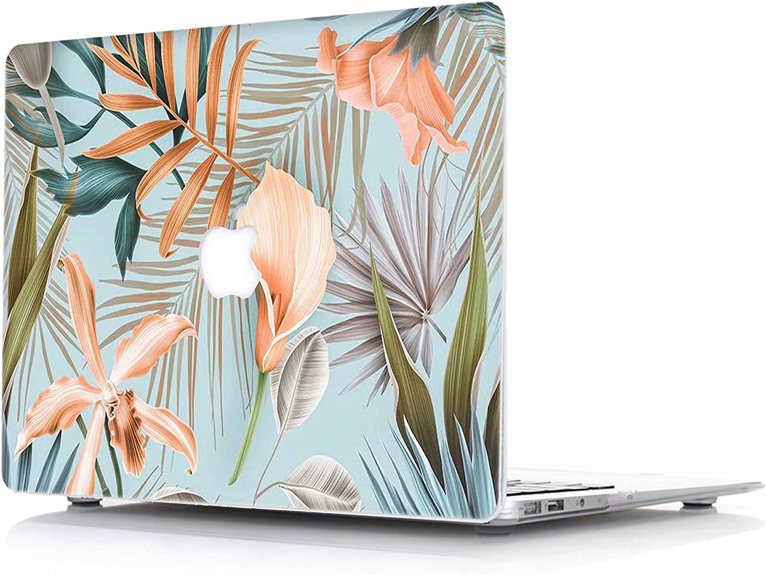 "Case for MacBook Retina 12 inch (Fit Model:A1534) - L2W Protective Hard Case, Plastic Rubber Coated Shell Cover Compatible with MacBook 12"" with Retina Display - Tropical Palms Leaves 08"