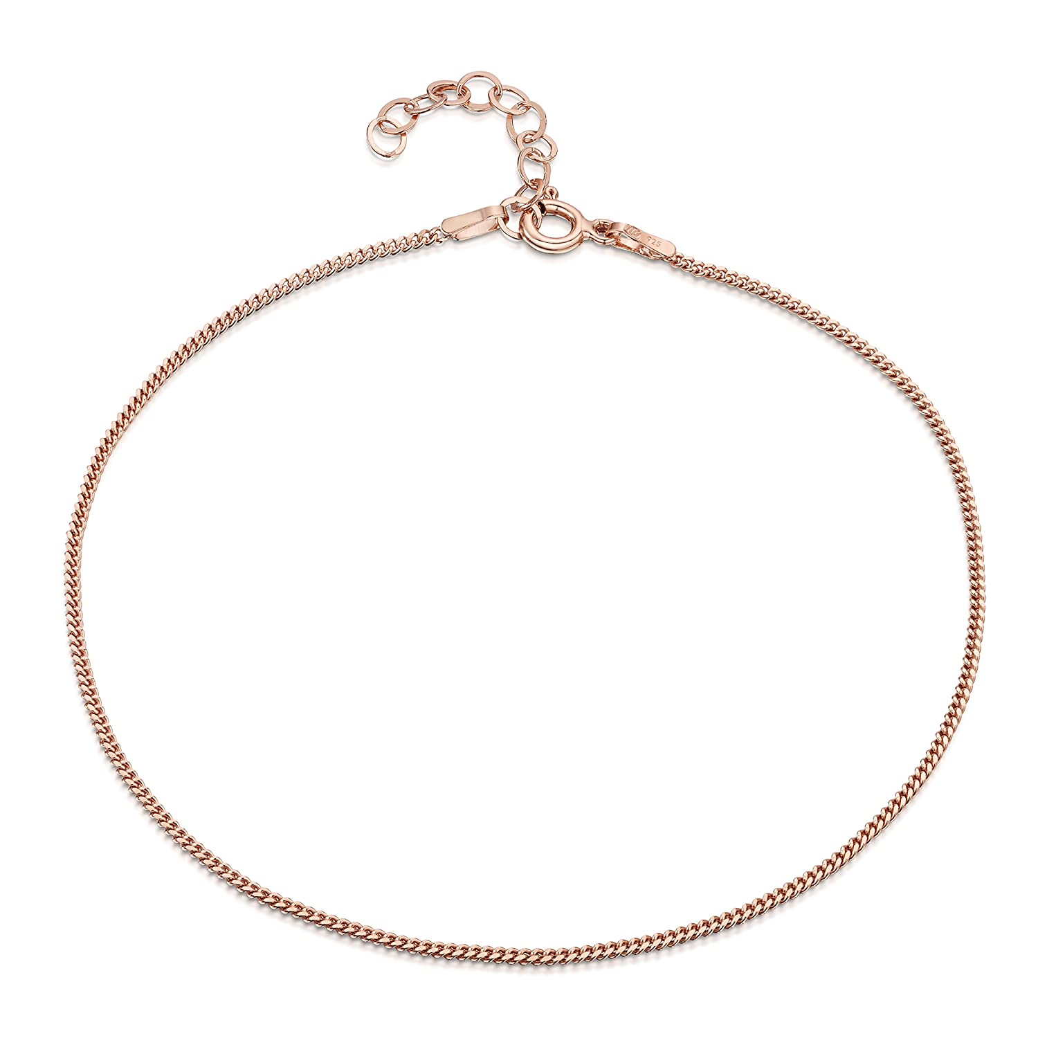 14K Rose Gold Plated on 925 Sterling Silver Adjustable Anklet - Classic Chain Ankle Bracelets - 9