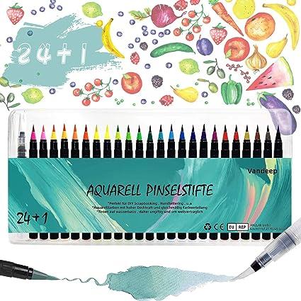 Estuche Rotuladores Acuarelables con punta suave, 24 plumas de pincel de acuarela + 1 pluma de pincel de agua, Plumas de dibujo, Estuche de Plumas de caligrafía, Plumas de pincel de acuarela:
