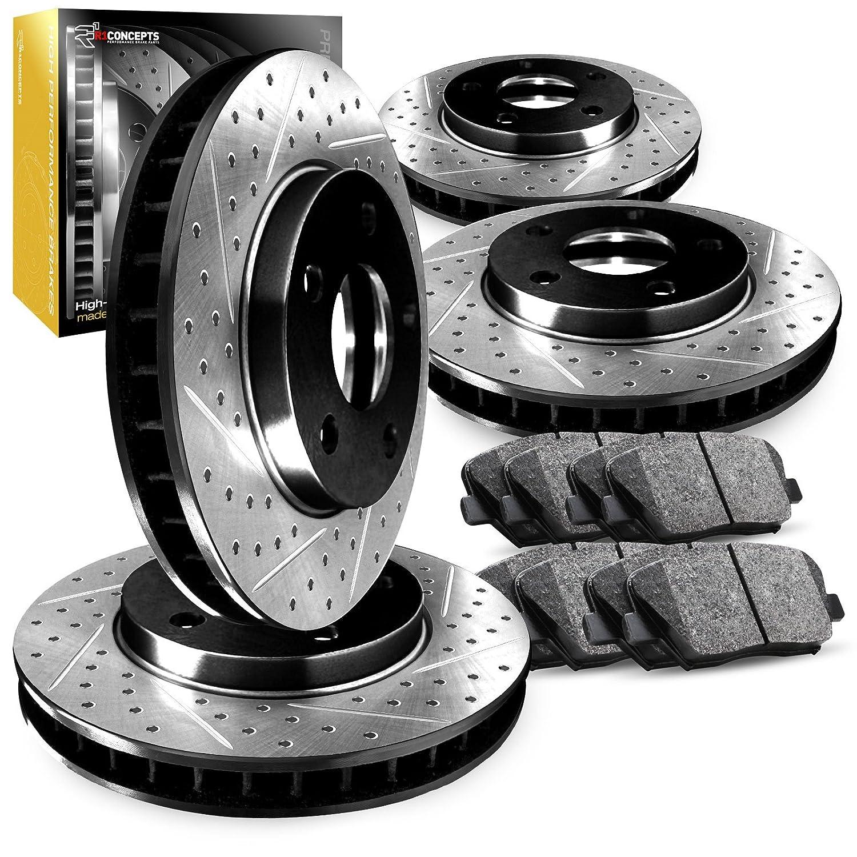 Front+Rear R1 Carbon Geomet Drill//Slot Brake Rotors Ceramic Brake Pads
