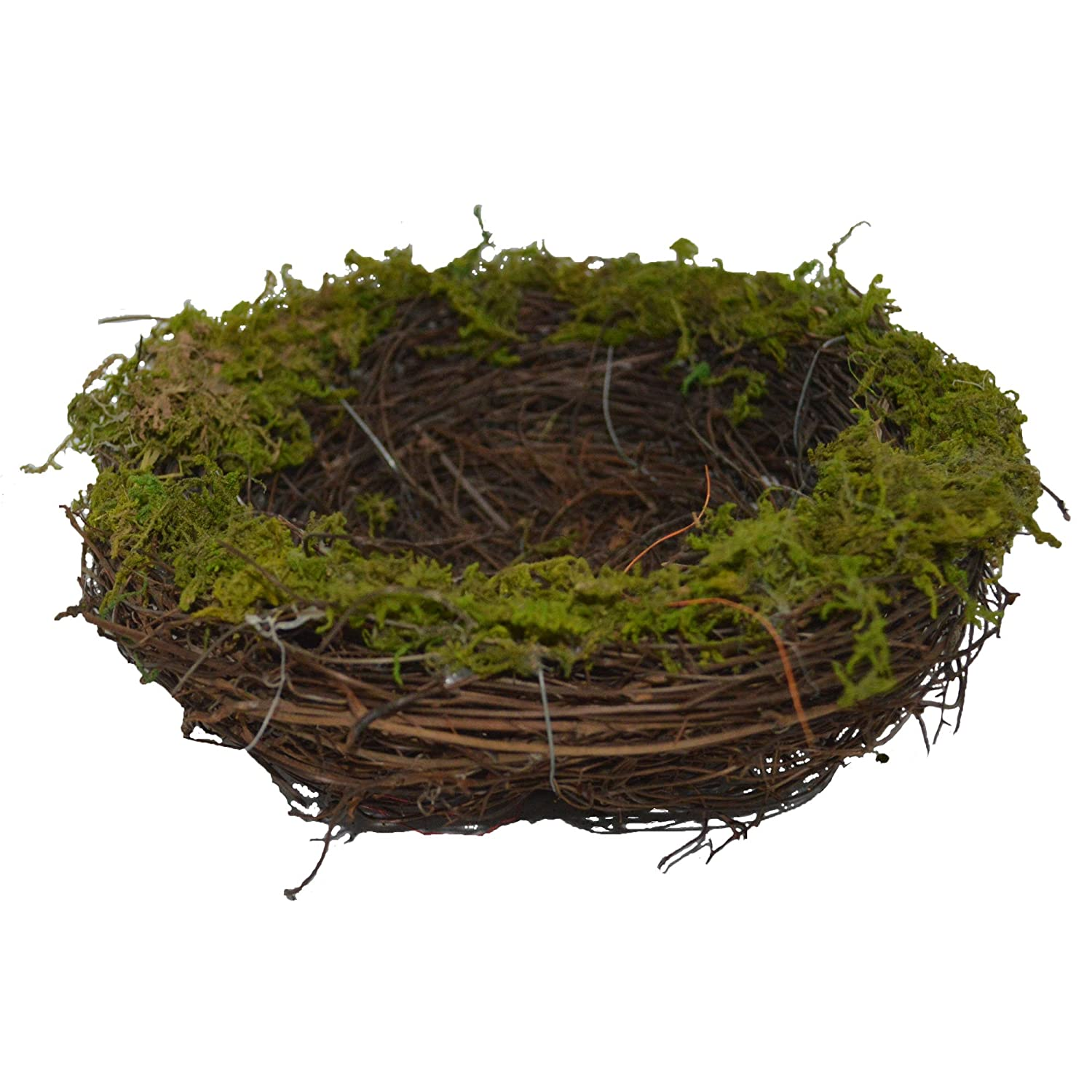 Emlyn Easter Artificial One Faux Natural Moss, Rattan and Twig Bird's Nest for Arts and Crafts
