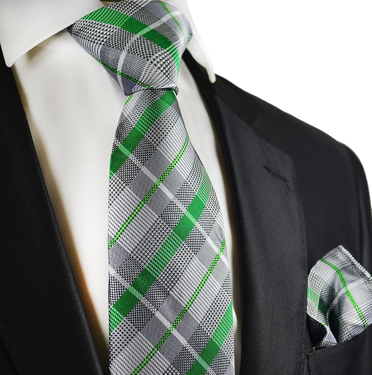 Silver and Green Paul Malone Silk Tie and Pocket Square
