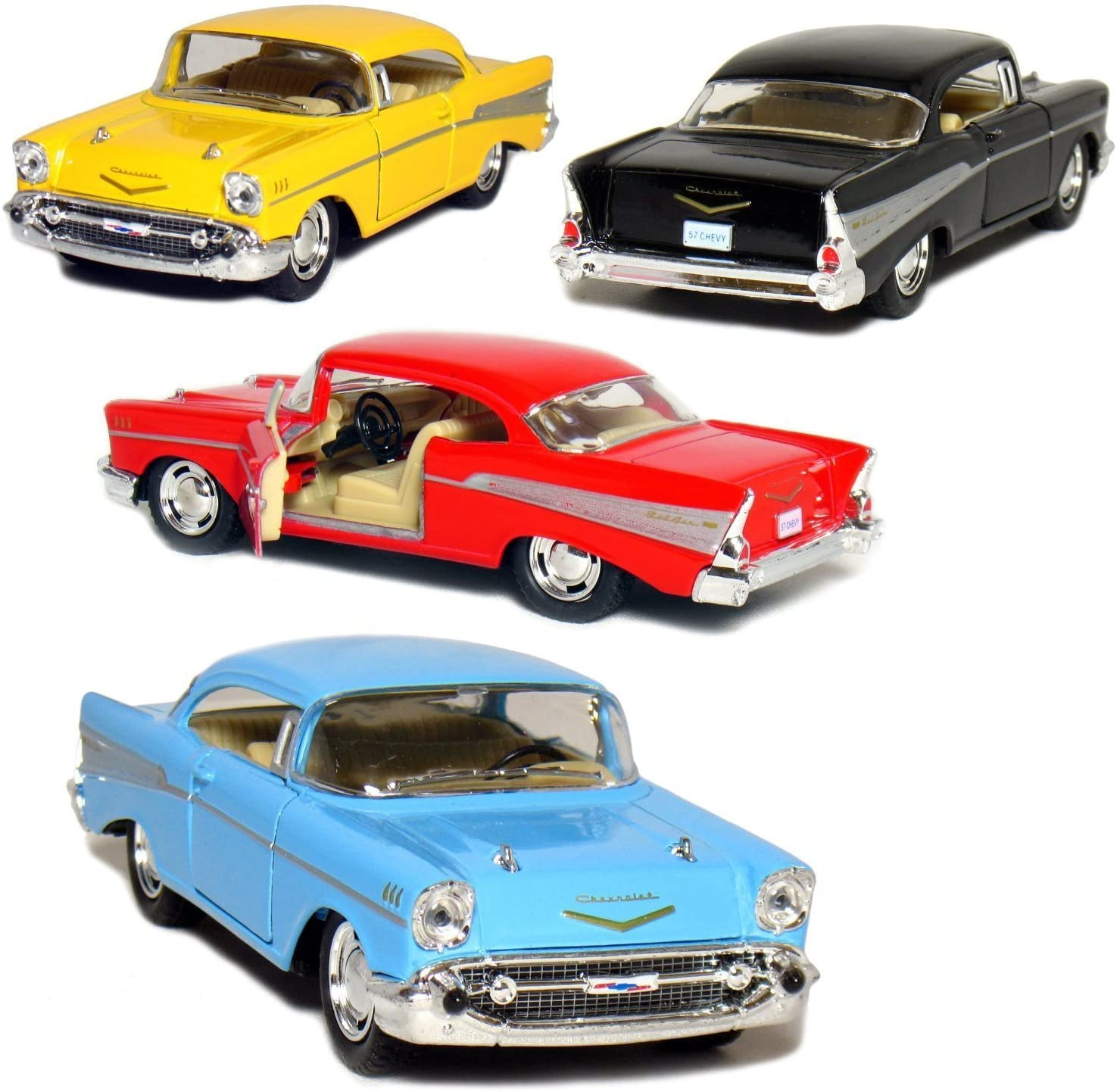 KiNSMART Set of 4: 1957 Chevy Bel Air Coupe 1:40 Scale (Black/Blue/Red/Yellow)