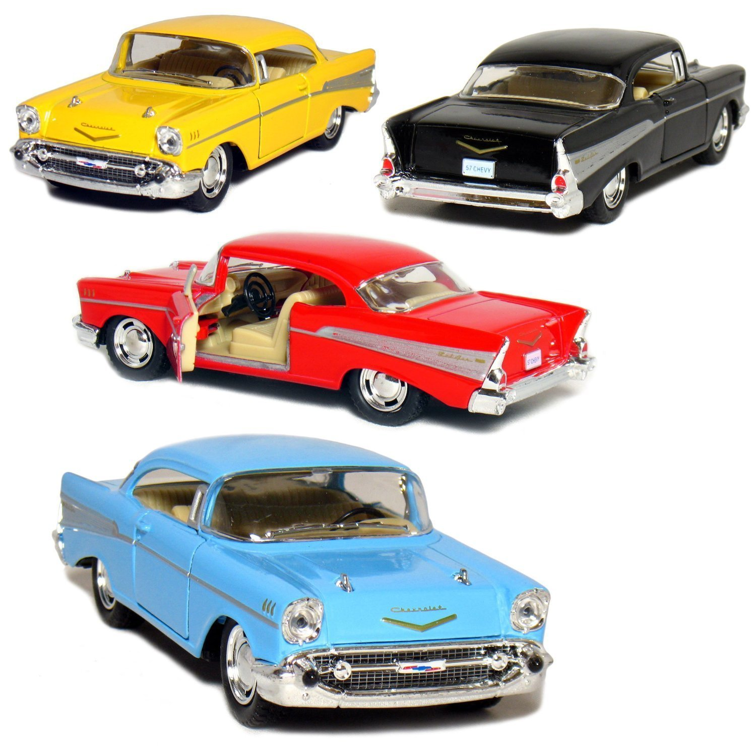 Kinsmart Set of 4: 1957 Chevy Bel Air Coupe 1:40 Scale (Black/Blue/Red/Yellow) by KT5313D-P4