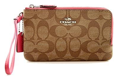 39abb88f Coach Signature Double Corner zip Wristlet Wallet - Silver / Khaki ...