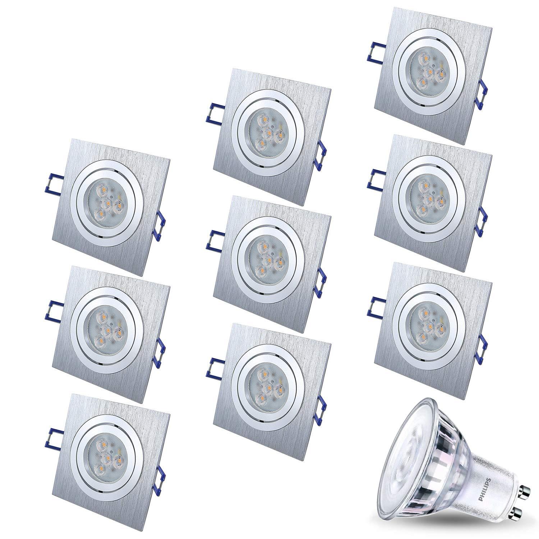 LED LED LED Einbaustrahler Schwenkbar Dimmbar STAR Quadratisch Matt-Chrom Silber Inkl. 10X 5W LED Warmweiss 230V IP20 Deckenstrahler Einbauleuchte Deckeneinbaustrahler Deckeneinbauleuchte Eckig fa0321