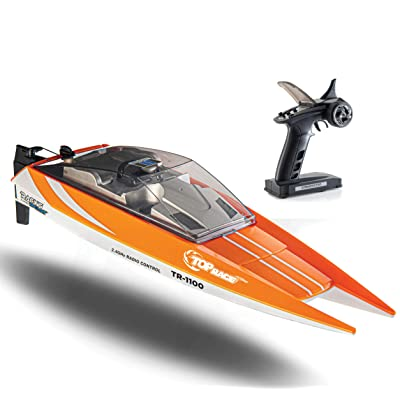 Top Race Remote Control Boat, 25 MPH Rc Boats for Adults, Rc Boat for Pools and Lakes, Low Battery & Range Signal, Auto Flip Recovery, Fastest Racing Pool Boat Speed Boat Gift Toy: Toys & Games