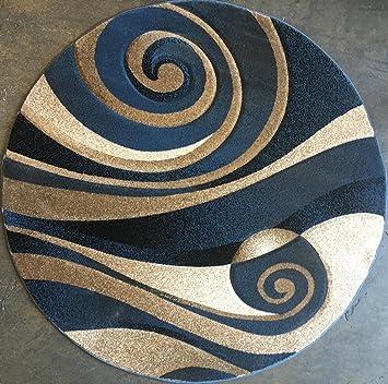 Amazon Com Sculpture Modern Round Abstract Area Rug Blue Design 258