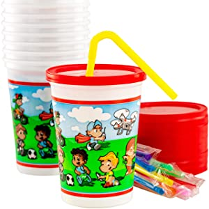 Spill-Resistant, Dishwasher-Safe Kids Party Cups With Lid and Straw 10 Pack. BPA Free Material is Durable Enough to be Reusable or Take and Toss! Great for Kid Birthday Parties, Travel or Bathroom Cup