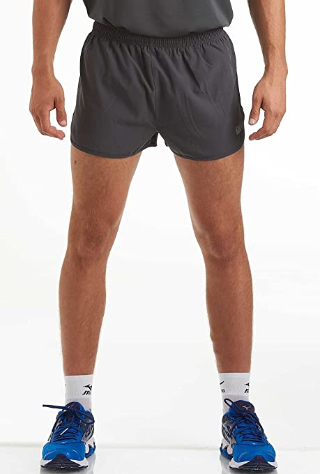 SHOWNO Mens Elastic Waist Casual Sports Drawstring Zip-Up Running Shorts
