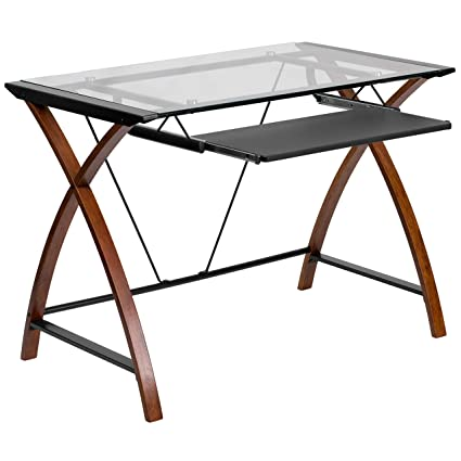 73a0311754f Image Unavailable. Image not available for. Color  A Line Furniture Kara Glass  Computer Desk ...