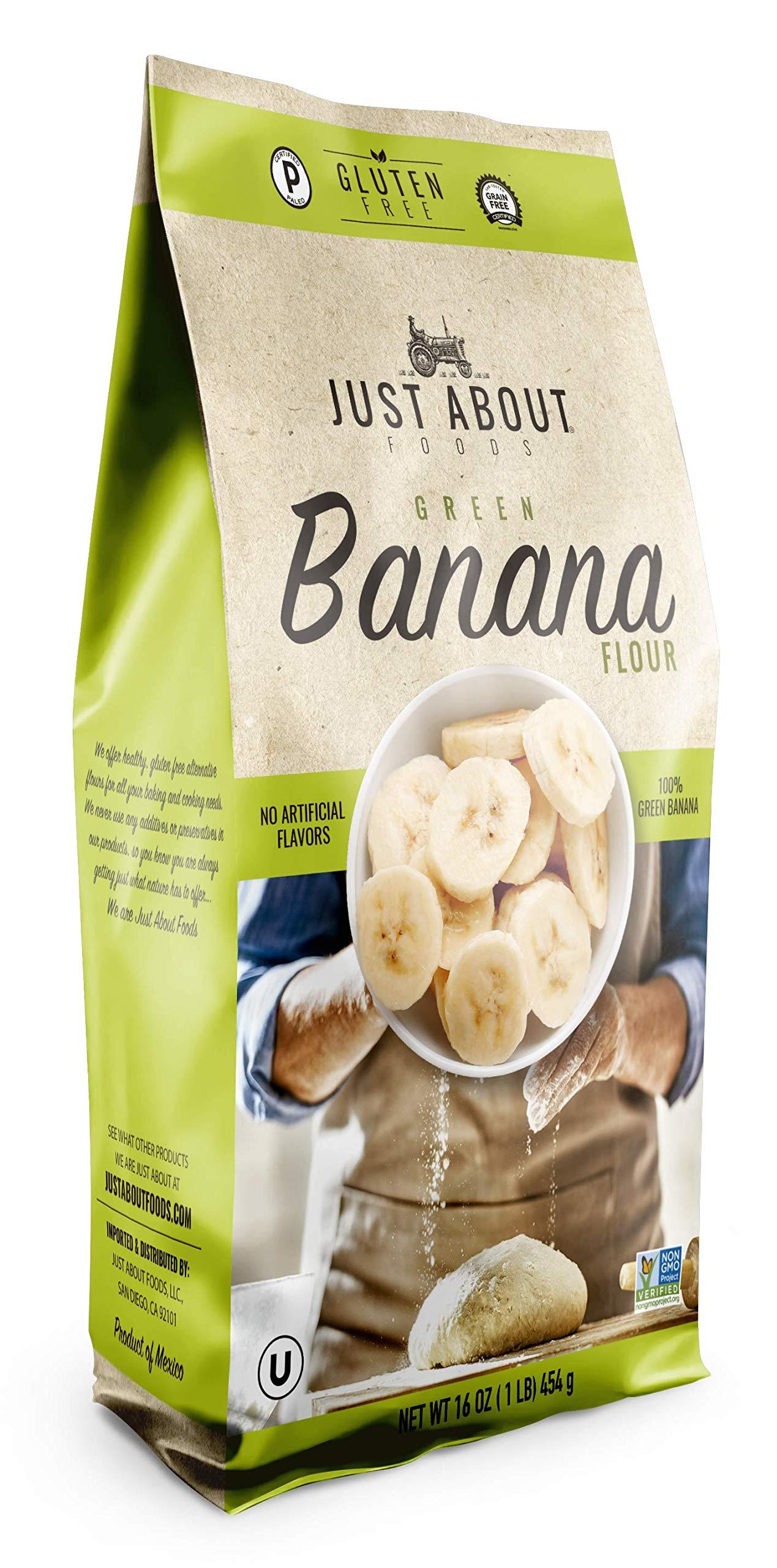 Just About Foods Banana Flour 1 Pound Paleo Grain Free Gluten Free Vegan Non GMO Pack of 1