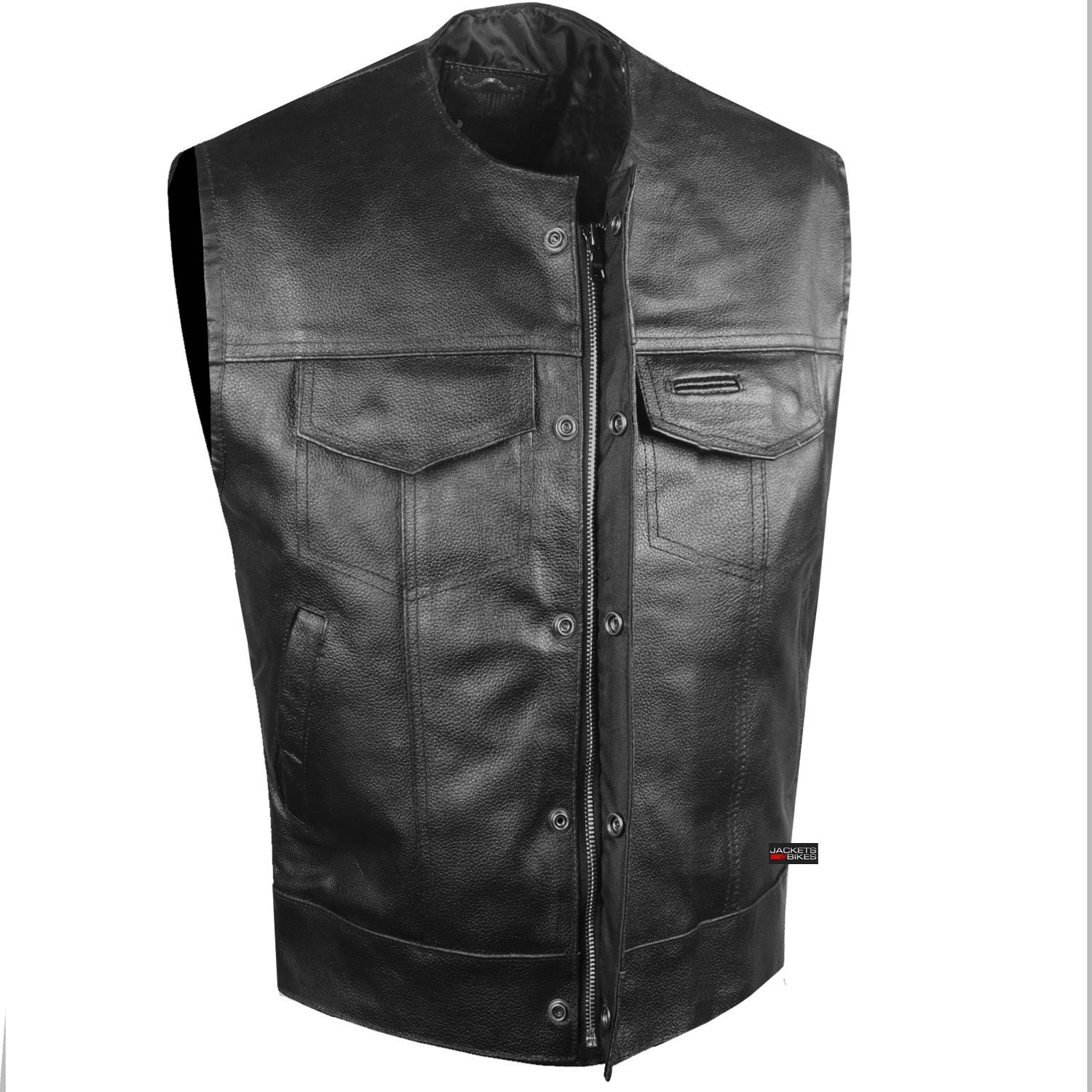 SOA Collarless Leather Vest Anarchy Motorcycle Biker Concealed Carry Black M