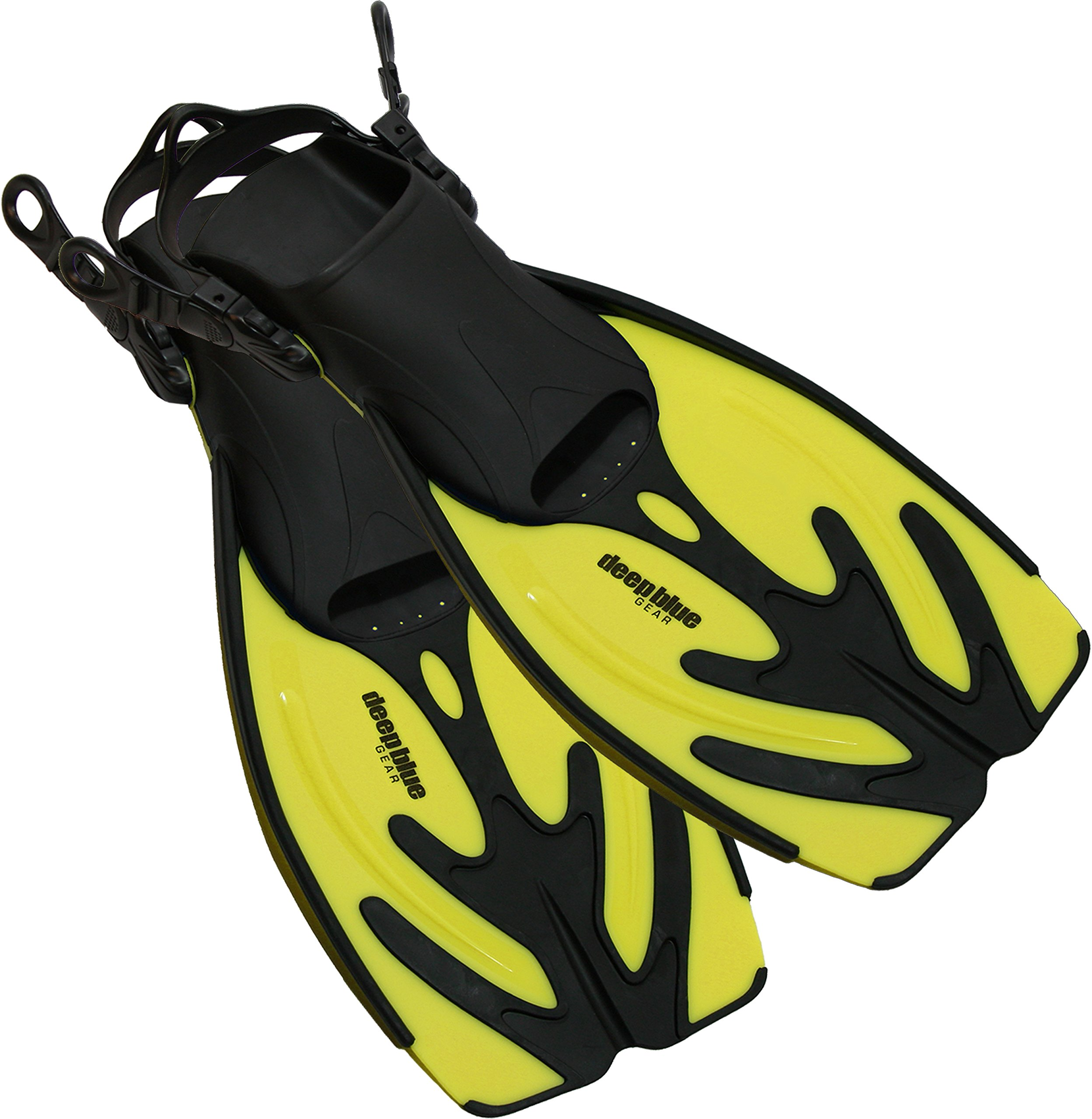 Deep Blue Gear Current Fins for Diving, Snorkeling, and Swim, Kids Size Large/X-Large (Kid's 1-4), Yellow