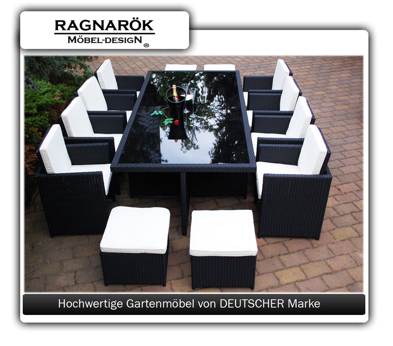 Amazon.de: PolyRattan Essgruppe DEUTSCHE MARKE    EIGNENE PRODUKTION Tisch  + 8 X Stuhl (premium Sessel Stühle ) U0026 4 X Hocker 7 Jahre GARANTIE Garten  Möbel ...
