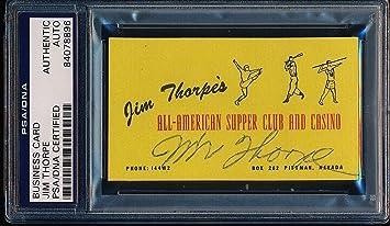 Jim Thorpe 1950 Signed Personal Las Vegas Business Card Auto Very