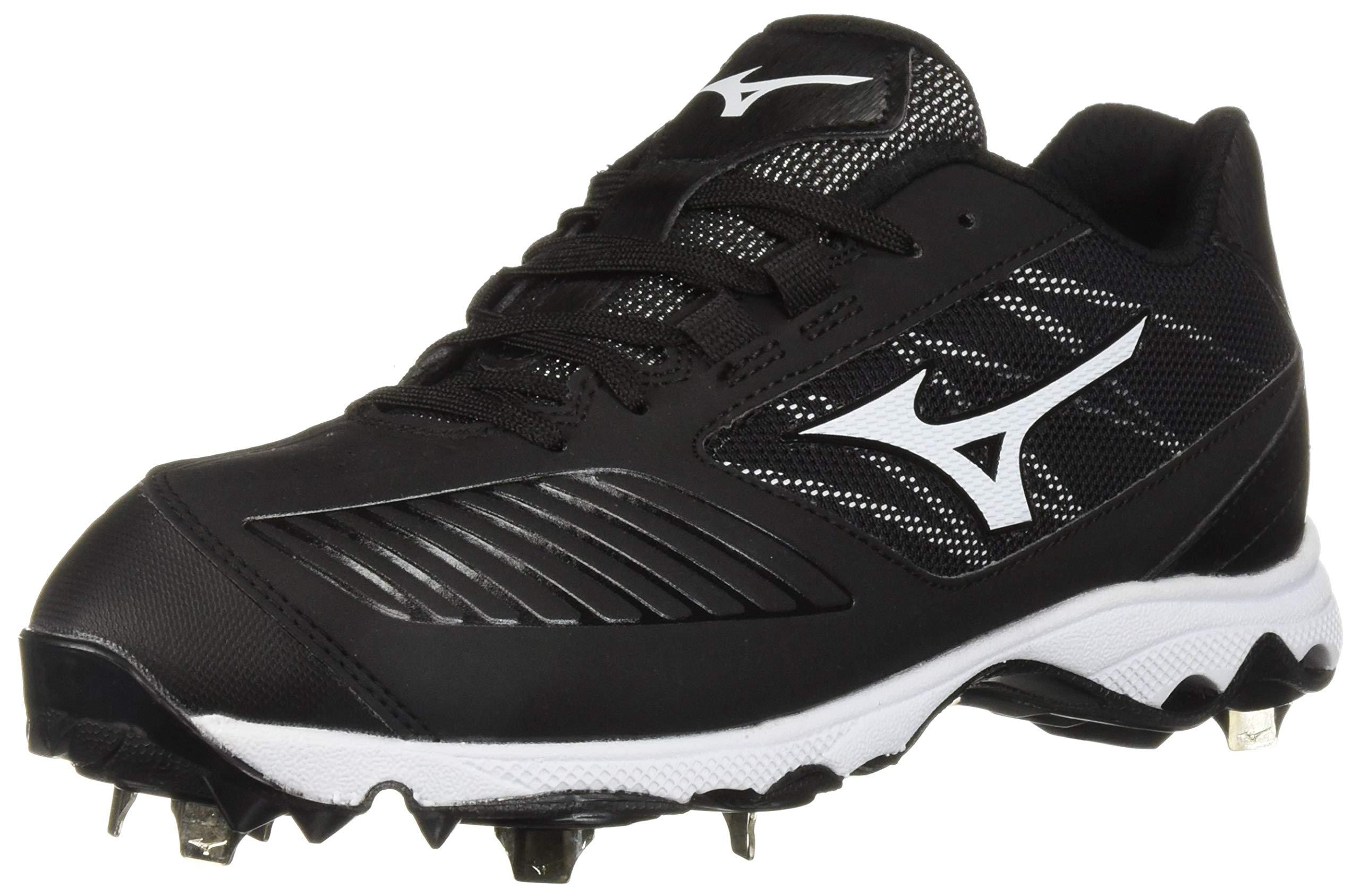 Mizuno Women's 9-Spike Advanced Sweep 4 Low Metal Cleat Softball Shoe, Black/White, 8 B US