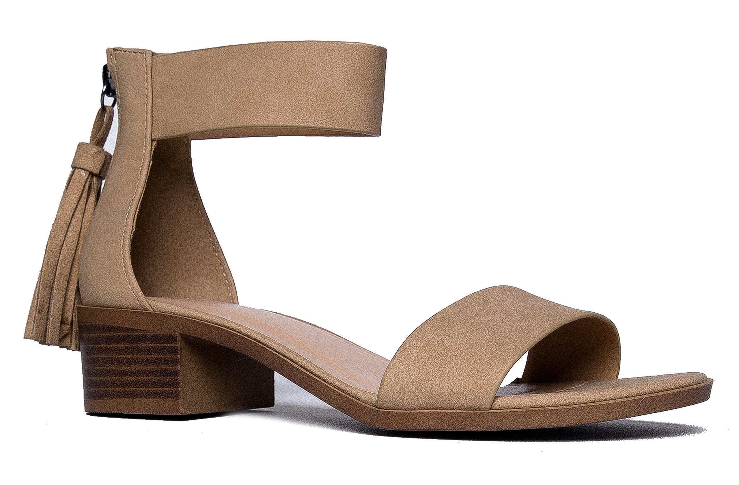J. Adams Midori Low Ankle Strap Tassel Heel, Natural NBPU, 7 B(M) US