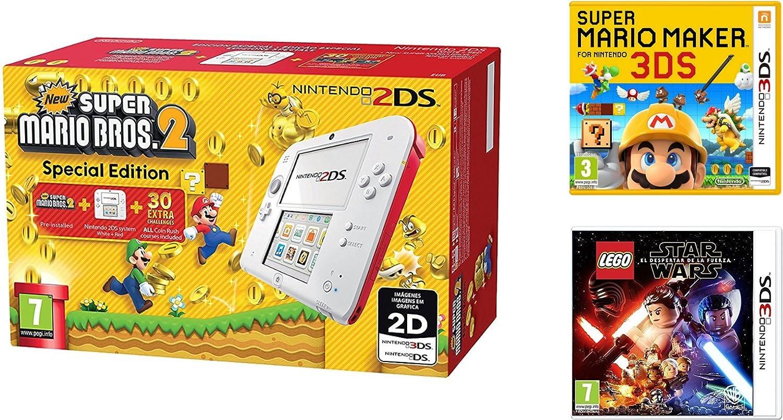 Consola Nintendo 2DS Roja + New Super Mario Bros 2 + Super Mario Maker + LEGO Star Wars: El Despertar De La Fuerza: Amazon.es: Videojuegos
