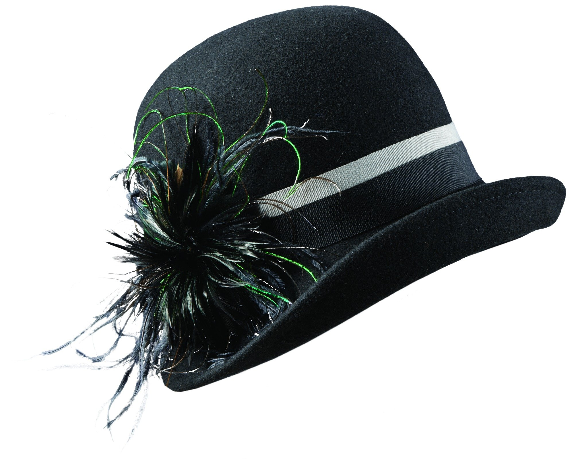 SCALA Collezione Woolfelt Cloche with Peacock (Black)