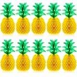 Blulu 10 Packs 14 Inch Pineapple Honeycomb Centerpieces Tissue Paper Pineapple Table Hanging Decoration for Hawaiian Luau Par