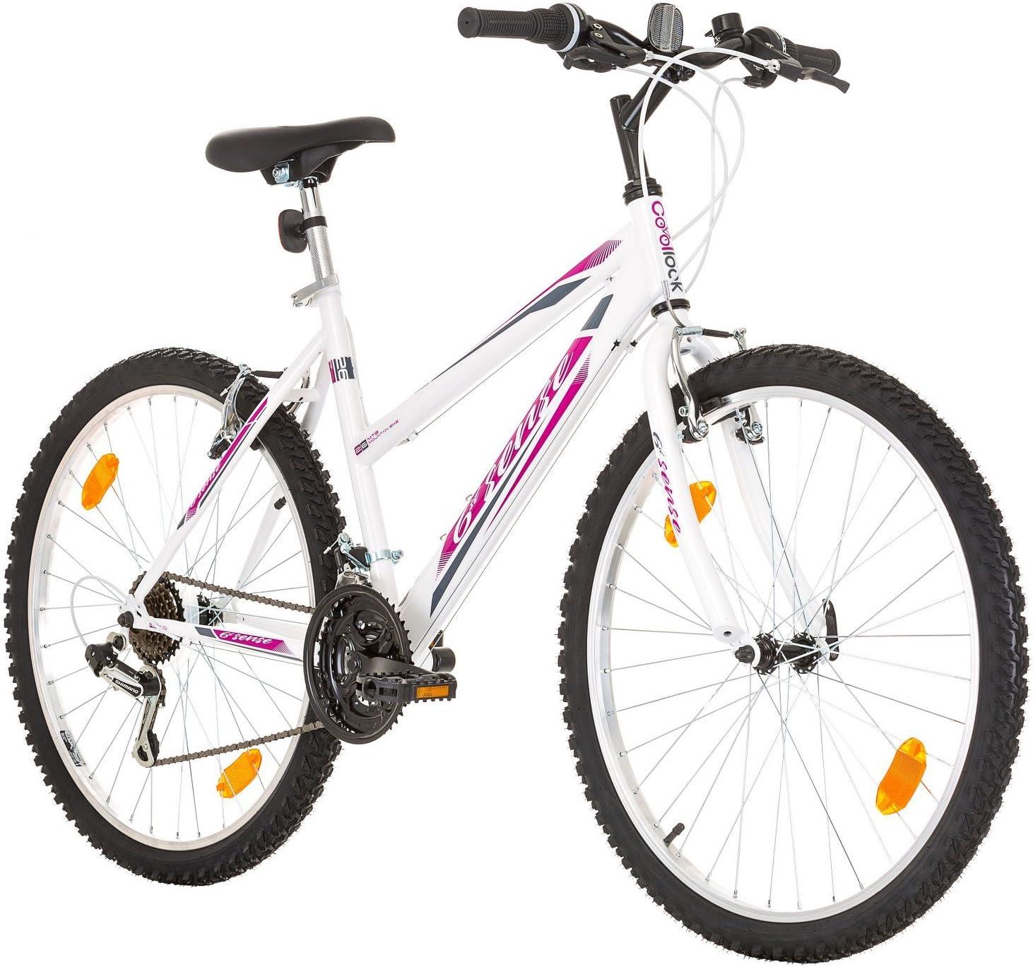 Multibrand, PROBIKE 6th SENSE, 460 mm, 26 pulgadas, Mountain Bike, 18 velocidades, Set de Mudgard, Para mujeres, Blanco-Rosa (Blanco-Rosa (Shimano))