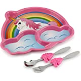KidsFunwares Me Time PP Dinnerware Set (Unicorn) – 3-Piece Set for Kids and Toddlers – Plate, Fork and Spoon that Children Love - Sparks your Child's Imagination and Teaches Portion Control