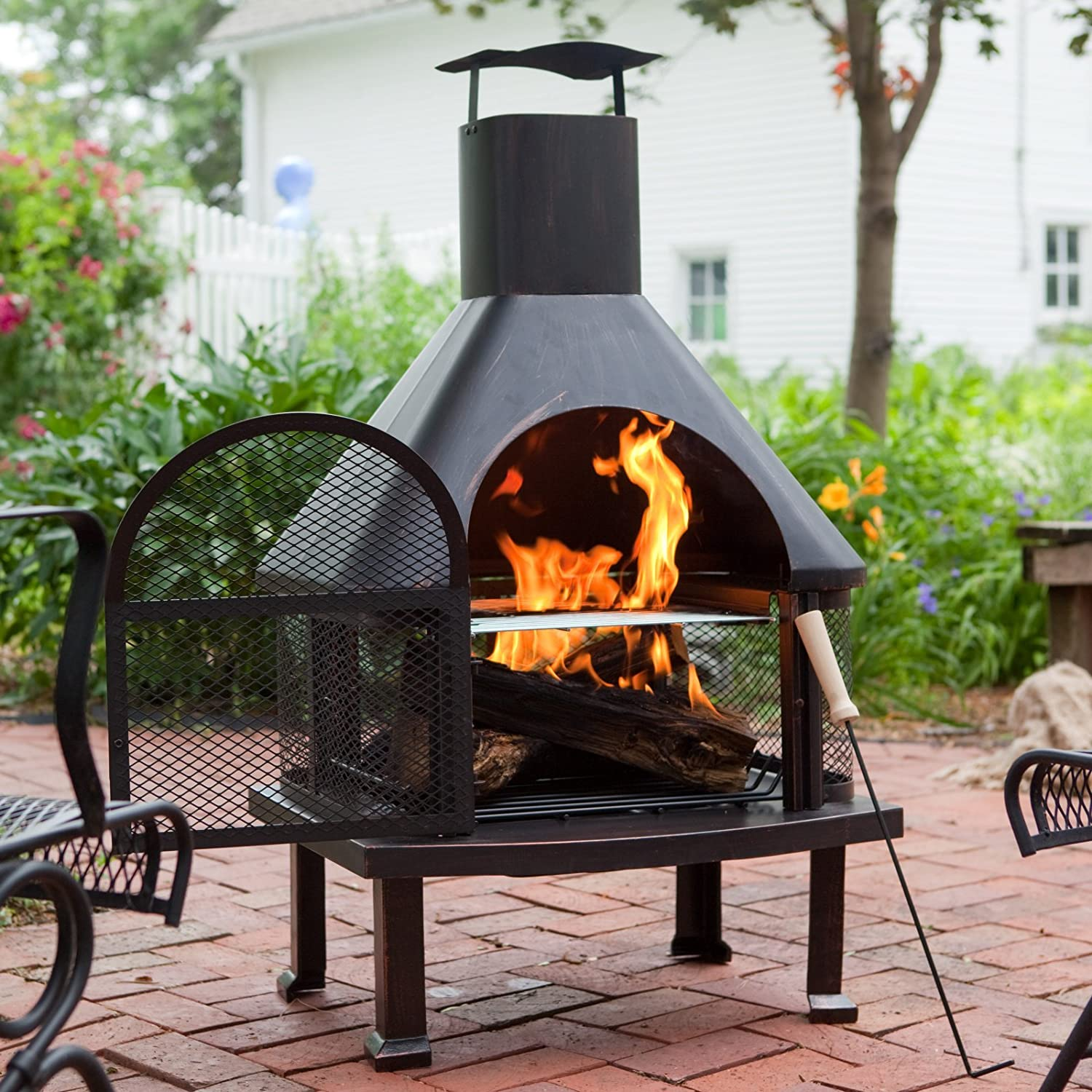 Amazon.com : Red Ember Wellington 4 ft. Fireplace with FREE Cover : Outdoor Fireplaces : Garden & Outdoor