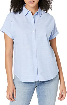 Daily Ritual Camisa de Manga Corta de algodón con Corte Holgado Camisa con Botones para Mujer