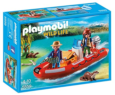 Amazon com: PLAYMOBIL Inflatable Boat with Explorers: Toys & Games