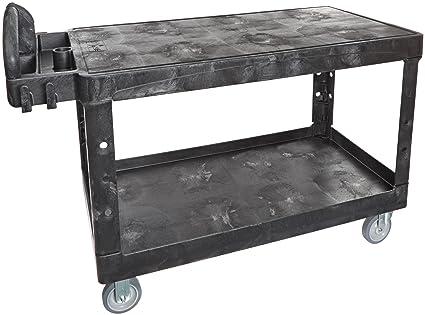 rubbermaid commercial hd ergo handle utility cart large black fg454500bla