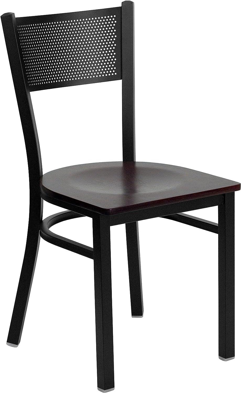 Flash Furniture HERCULES Series Black Grid Back Metal Restaurant Chair - Mahogany Wood Seat