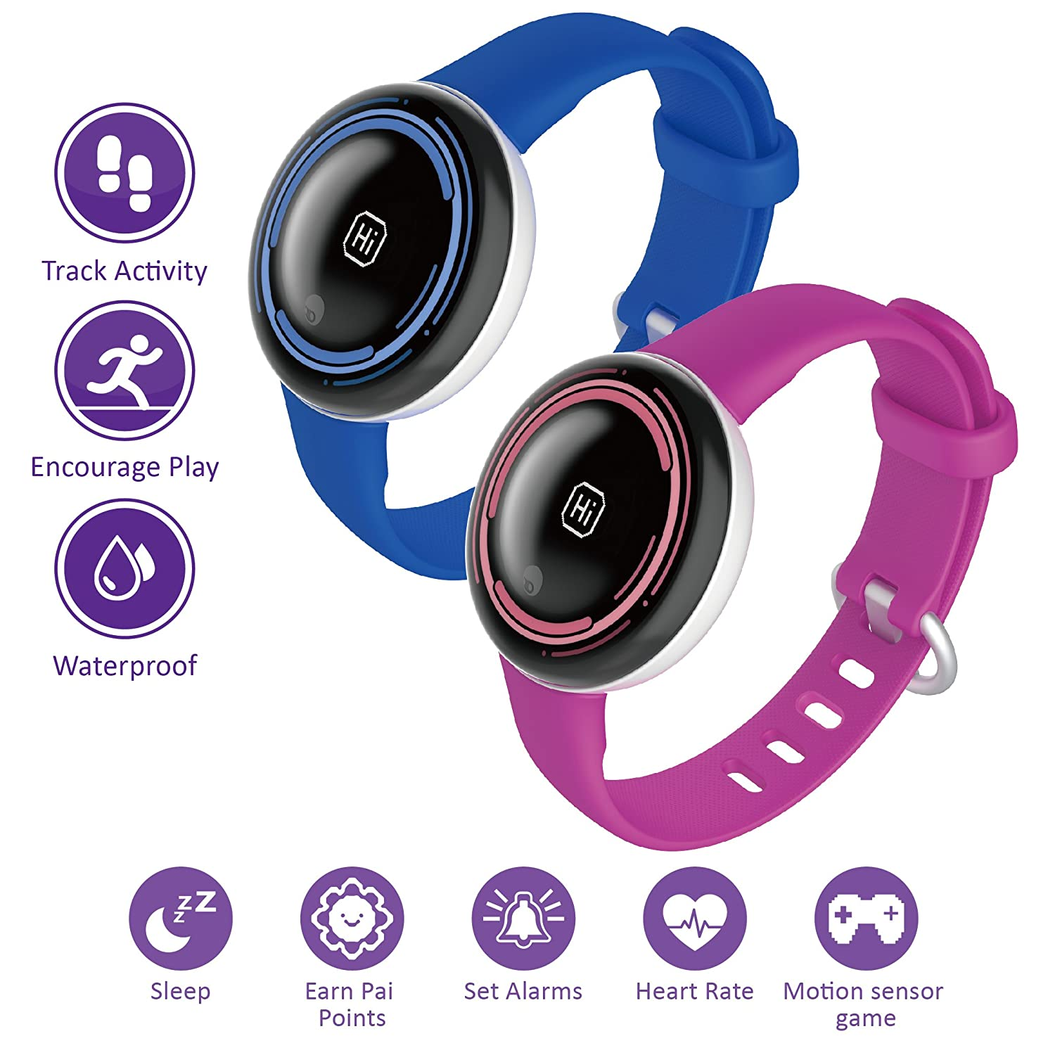 PAI TECHNOLOGY PaiBand Kids Activity Tracker IP67 Water Resistant Fitness Tracker as Step Counter Sleep Monitor Pedometer Smart Bracelet with Motion Sensor Game Pink