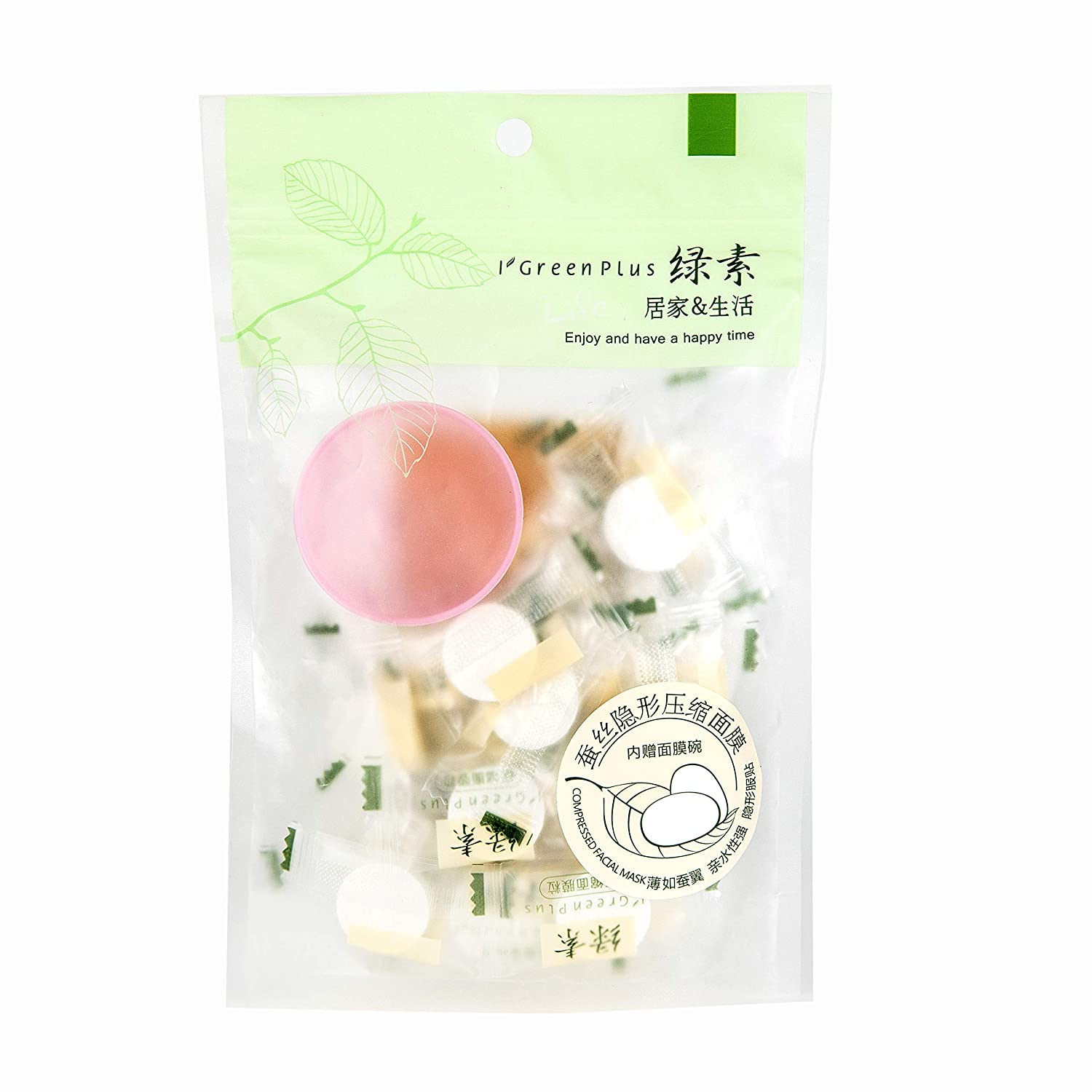 35 pcs Compressed Facial Mask Disposable Mask Paper Natural Silk Skin Care Masks Home DIY Sheet Mask Skin Care Products Contains a Mask Bowl Available in Four Material
