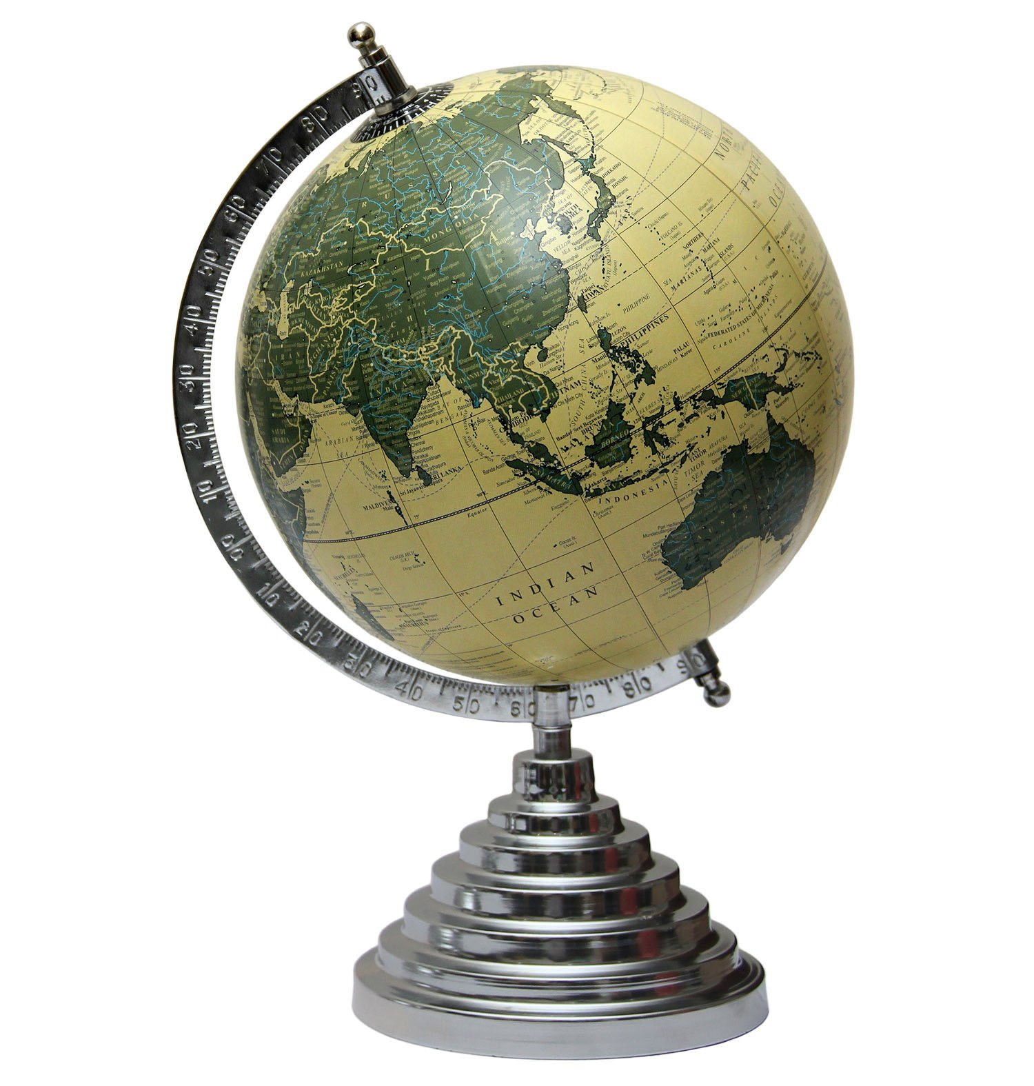 MasterpieceIndia 8 Inches Diameter Geographical Educational World Earth Desktop Medium Gift Decor Kids Office Home Decorative Tabletop Globe (Beige2)