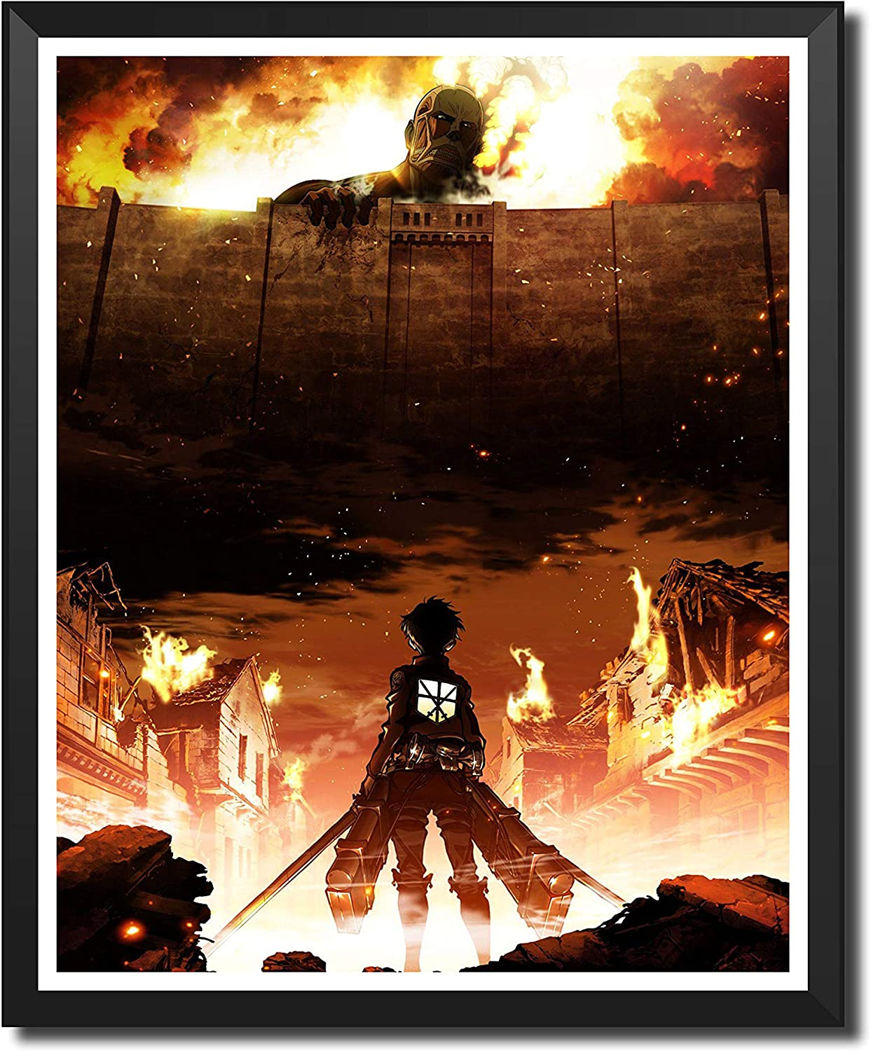 Yansang Anime Attack on Titan Fire Eren Jaeger Bathroom Decor Wall Decor Home Decor Canvas Print Poster,Unframed,8 x 10 Inches,Set of 1 Piece(Small Size)