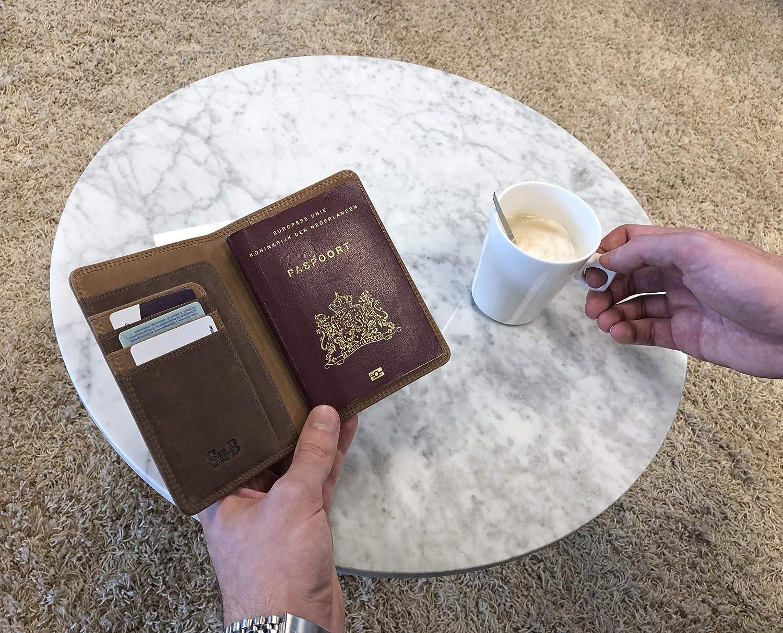 Prot/ège-passeports Su.B Porte-Passeport Housse en Cuir avec Blocage RFID Olive Portefeuille Pochette /étui de Protection pour Passeport Carte dembarquement Noir