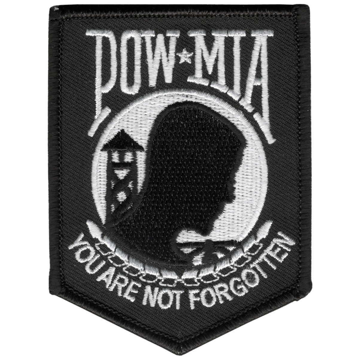 POW MIA, High Thread Embroidered Rayon, Saw-On / VELCRO PATCH - 3' x 4', Exceptional Quality Saw-On / VELCRO PATCH - 3 x 4 Officially Licensed & Trademarked Products VikPPV1038