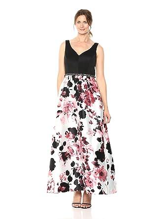 d0cab4f87f1ad Ignite Women s Sleeveless V-Neck Printed Ballgown Dress at Amazon ...