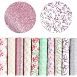 Pllieay 10 Pieces Floral and Animal Printed Faux Leather Sheets Vivid Pearl Light Solid Color for DIY Bows Earrings…