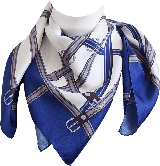 tessago foulard seta 100/% twill 12mm disegno 92688 var bluette royal cm 90 x 90