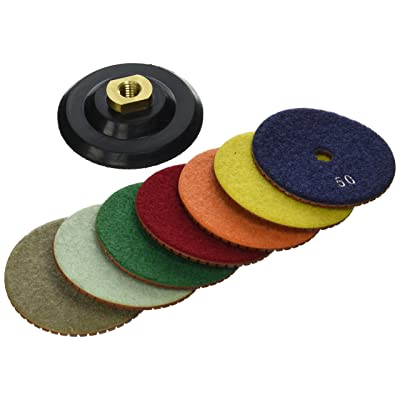 Toolocity JHXR224SETW 4-Inch JHX Metal Bond Diamond Polishing Pads with Back Holder, Set of 7: Home Improvement