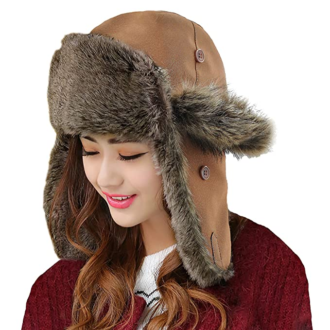 08d93dd245c Image Unavailable. Image not available for. Color  Unisex Winter Hat Faux  Fur Trapper Hat Cotton Wool Blend Warm Ushanka Russian Hunting Hat