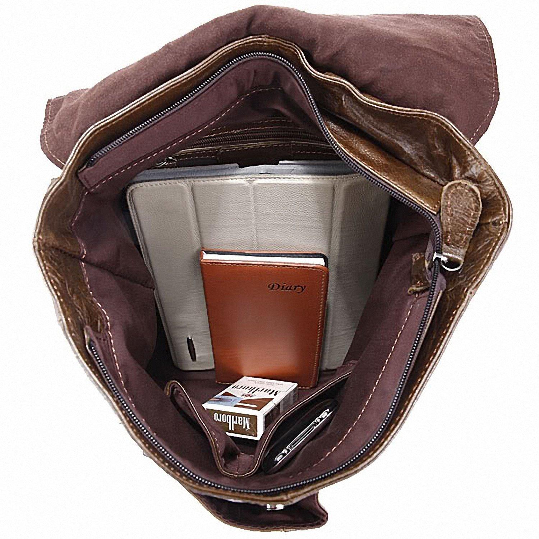 Tom Clovers Genuine Leather Unisex Leisure Handbag Backpack Coffee by Tom Clovers (Image #6)