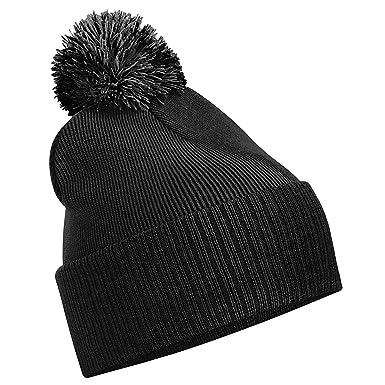 d35e3f2610 Unisex Beechfield Snowstar Duo Winter Knit Beanie Bobble Hat Black Graphite  Grey One Size  Amazon.co.uk  Clothing